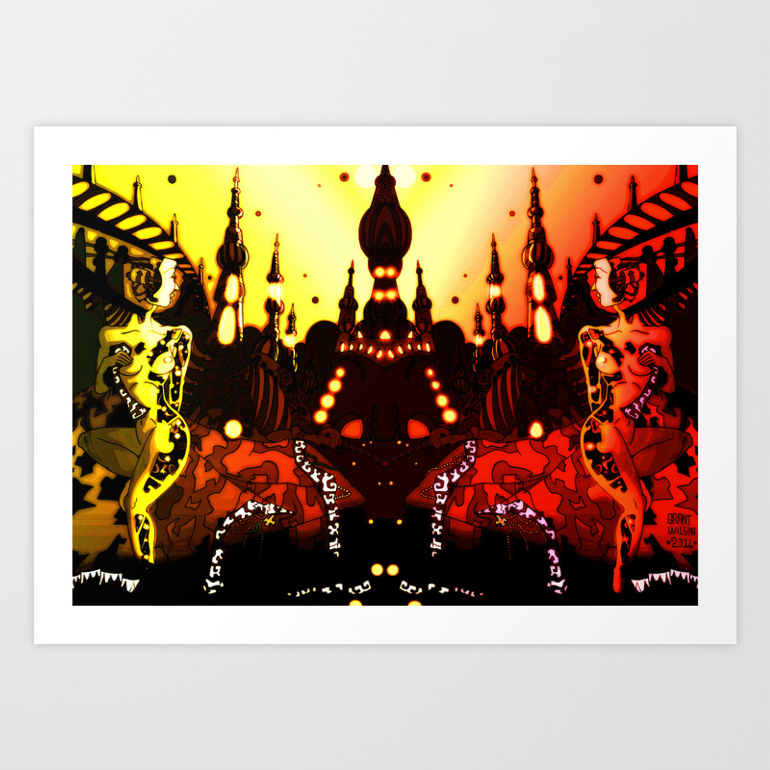 Robot City Night Pen Drawing With Digital Colour Art Print By Grantwilson Society6