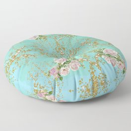Pink Roses Bouquet in Blue Aqua Ombre and Gold Background Floor Pillow
