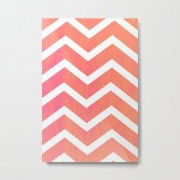 Patterned Chevron (Neon Peach) Metal Print