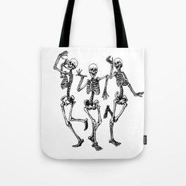 Three Dancing Skulls Tote Bag