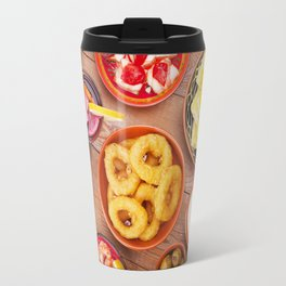 I - Assortment of Spanish tapas and sangria on a rustic table Travel Mug