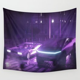 Cybertruck Synthwave Wall Tapestry