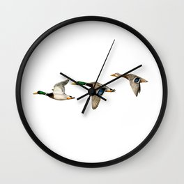 Flying Mallards Wall Clock