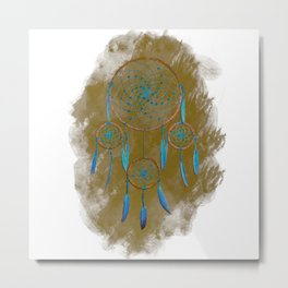 Dreamcatcher Turquoise: Sand background Metal Print