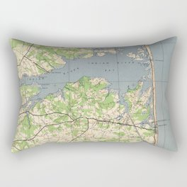 Vintage Rehoboth & Bethany Beach DE Map (1944) Rectangular Pillow