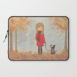 Little girl with dog in autumn landscape Laptop Sleeve