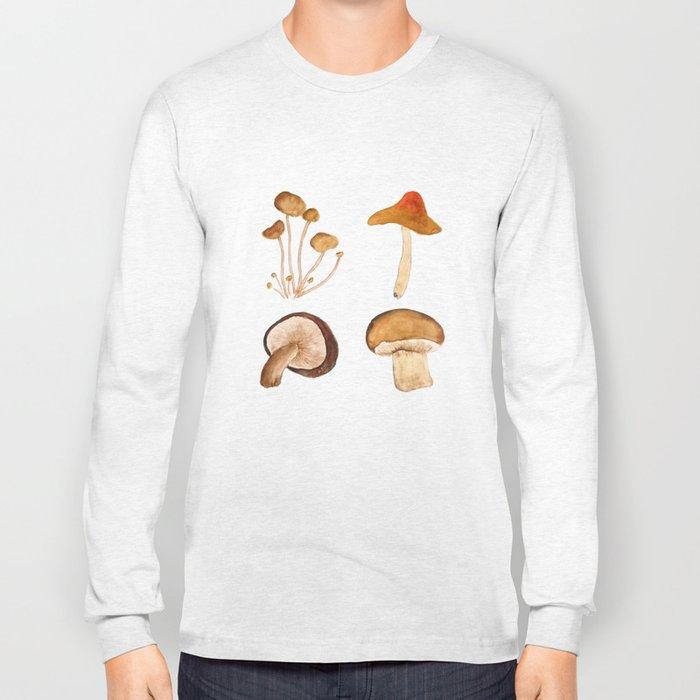 mushroom watercolor painting Long Sleeve T-shirt