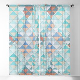 Triangle Pattern No.10 Shifting Turquoise and Orange Sheer Curtain