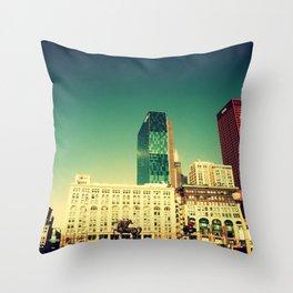Chicago Retro Skyline ~ architecture Throw Pillow