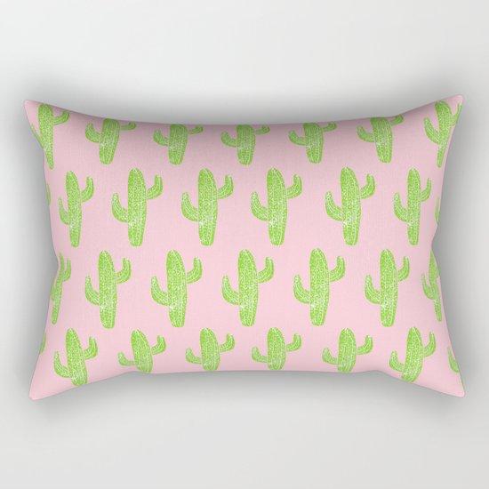Linocut Cacti Minty Pinky Rectangular Pillow