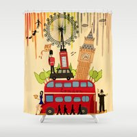 cities Shower Curtains featuring Rainbow Cities ~ London by Evisa Isabella Rose