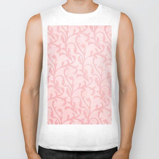 Pretty princess- Pink elegant Damask pattern Biker Tank