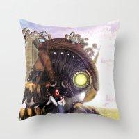 bioshock Throw Pillows featuring Bioshock Infinite: The SongBird by GIOdesign