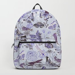 Dragonflies, Butterflies and Moths With Plants on Pale Blue Backpack