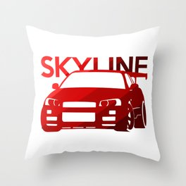 Nissan Skyline GT-R  - classic red - Throw Pillow