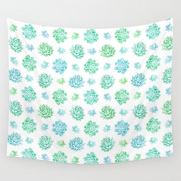Trendy modern turquoise teal cute cactus pattern Wall Tapestry