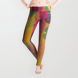 Abstract Colorful Floral Pattern Leggings