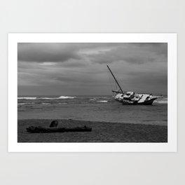 sunken boat Art Print
