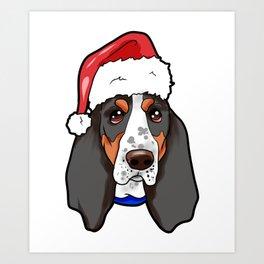 Basset Hound Dog Christmas Hat Art Print