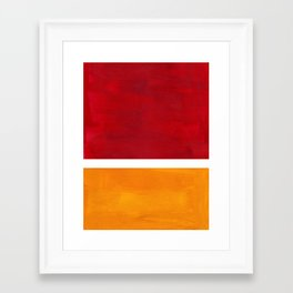 Burnt Red Yellow Ochre Mid Century Modern Abstract Minimalist Rothko Color Field Squares Framed Art Print