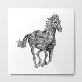 Horse Galloping Zentanlge Metal Print
