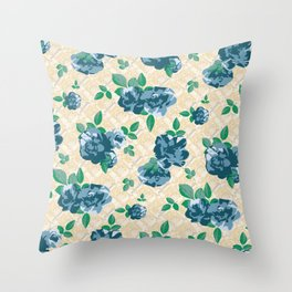 Ditsy Floral (Blue) Throw Pillow