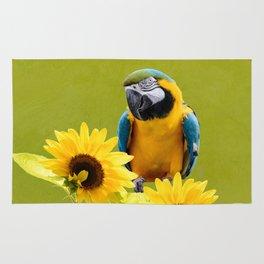 Blue-and-yellow macaw and sunflowers Rug