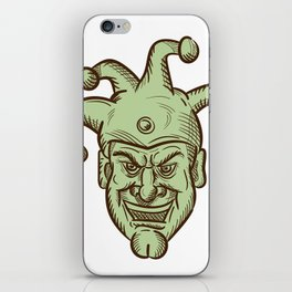 Demented Medieval Court Jester Drawing iPhone Skin