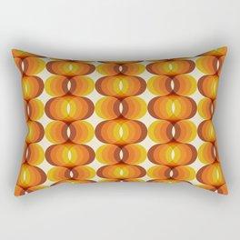 Orange, Brown, and Ivory Retro 1960s Wavy Pattern Rectangular Pillow