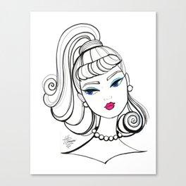 Vintage Fashion Doll Sketch Canvas Print