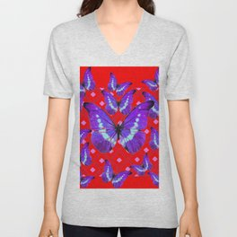 Purple Butterflies Flight on  Chinese Red Color Pattern Unisex V-Neck
