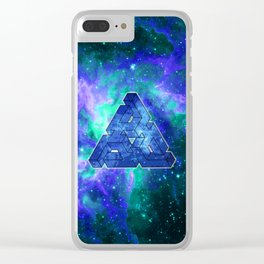 Triangle Blue Space With Nebula Clear iPhone Case