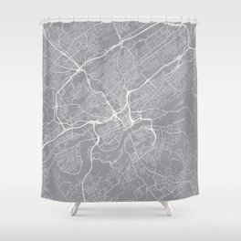Knoxville Map, Tennessee USA - Pewter Shower Curtain