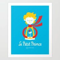 le petit prince Art Prints featuring Le Petit Prince by Andrea Tobar