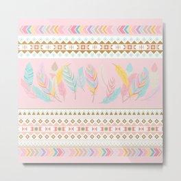 Bohemian Feathers Rose Quartz Millennial Pink Pastels Mint Aquamarine Pattern Metal Print
