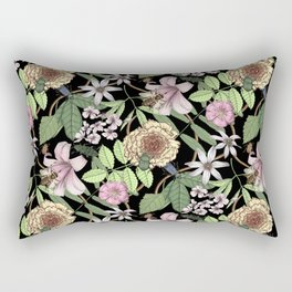 lush floral pattern with bee and beetles I Rectangular Pillow