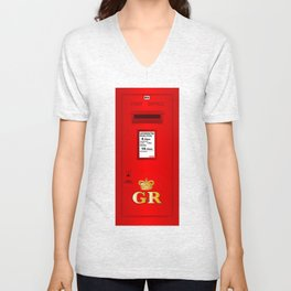 Traditional British  Georges Reign Postbox Unisex V-Neck