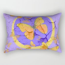 OLD YELLOW BUTTERFLIES &  LILAC WALLPAPER MODERN ART  f Rectangular Pillow