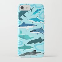 sharks iPhone & iPod Cases featuring Sharks by Raffles Bizarre