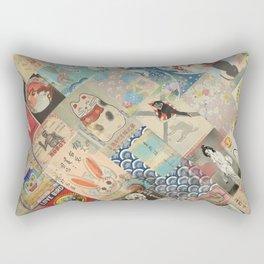 Vintage Japanese matchbox collage Rectangular Pillow