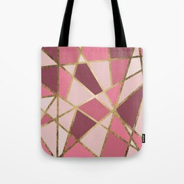 Girly Chic Pink & Burgundy Geo Gold Triangles Tote Bag