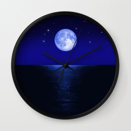 Morning Blue Moon Reflected in Dark Sea Wall Clock