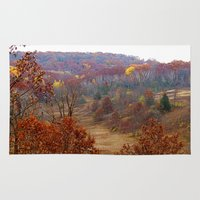wisconsin Area & Throw Rugs featuring Fall Forest in Wisconsin by Bella Mahri-PhotoArt By Tina