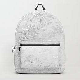 White Marble Silver Glitter Gray Backpack