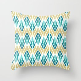 Mid Century Modern Abstract Floral Pattern in Turquoise Teal Aqua and Marigold Throw Pillow