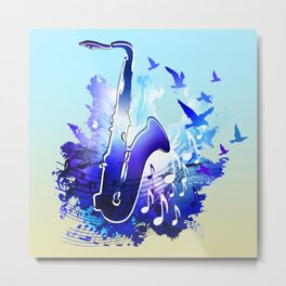 Saxophone music instruments design  Metal Print
