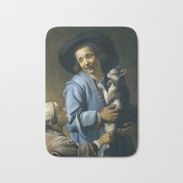 Abraham Bloemaert - Youths playing with a Cat (1620) Bath Mat