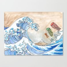 Hokusai's Wave vs. The Electric Jellyfish Canvas Print