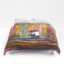 Love in the Rain romantic painting by Manjiri Kanvinde Comforters