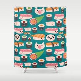 Kawaii sushi teal Shower Curtain